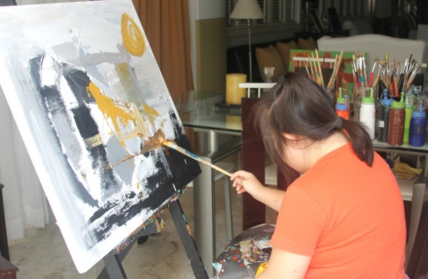 Clarissa Painting While Recovering From Chicken Pox