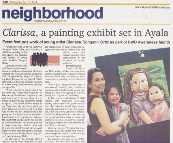 bits malu 7.16.14SUNSTAR-Clarissa a painting exhibit set in Ayala