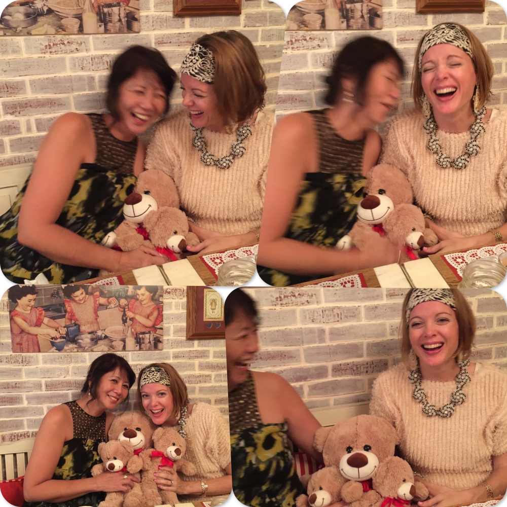 Joi and Jennifer having fun with the bears