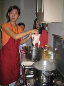 Edith Mar teaching us how to cook Hainanese Chicken