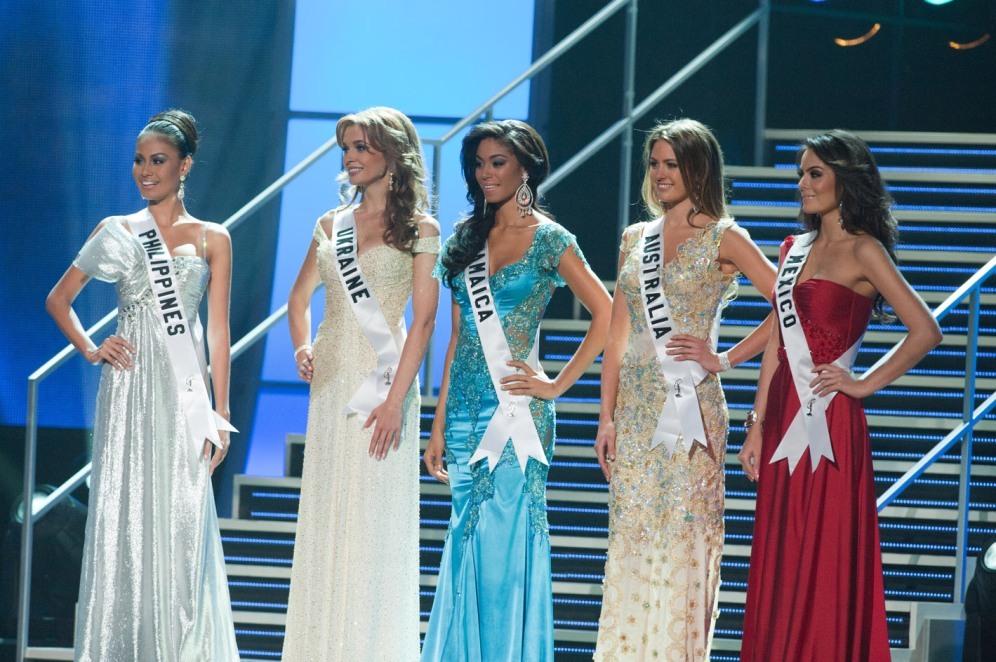 Venus Raj, Miss Philippines 2010; Anna Poslavska, Miss Ukraine 2010; Yendi Phillipps, Miss Jamaica 2010; Jesinta Campbell, Miss Australia 2010, and Jimena Navarrete, Miss Mexico 2010, are the top 5 finalist during the 2010 Miss Universe Pageant at the Mandalay Bay Events Center in Las Vegas, Nevada on Monday, August 23, 2010. ho/Miss Universe Organization LP, LLLP