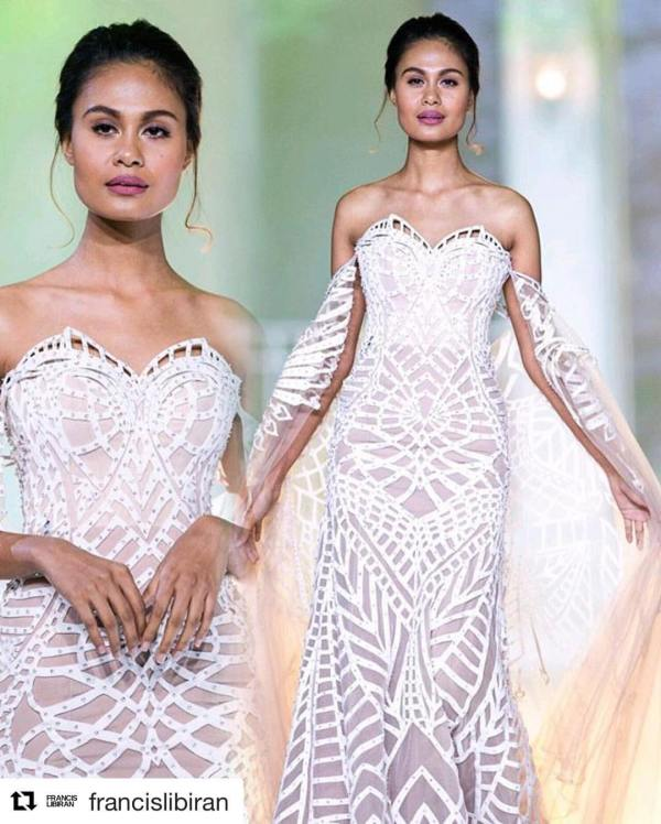 venus modeling white gown