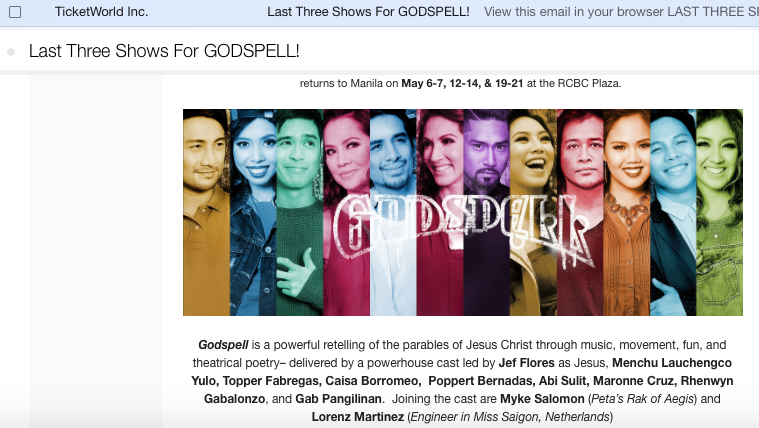 ticketworld last three shows for Godspell